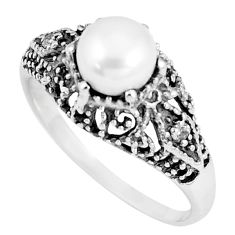 3.22cts natural white pearl topaz 925 silver solitaire ring jewelry size 9 p8110