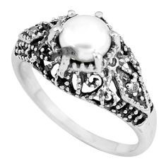 2.78cts natural white pearl round topaz 925 silver solitaire ring size 7.5 p8111