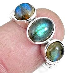 4.22cts natural blue labradorite 925 sterling silver ring jewelry size 7 p8114