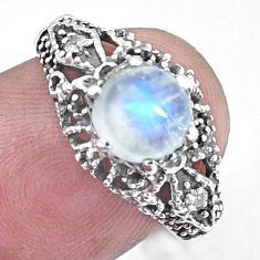 2.61cts natural rainbow moonstone topaz 925 silver solitaire ring size 7 p8115
