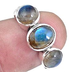 4.22cts natural blue labradorite 925 sterling silver ring jewelry size 6 p8117
