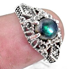 2.78cts natural blue labradorite 925 silver solitaire ring jewelry size 8 p8119