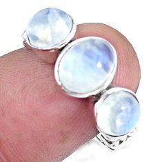 4.40cts natural rainbow moonstone 925 sterling silver ring jewelry size 7 p8120