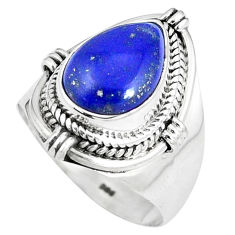 5.28cts natural blue lapis lazuli 925 silver solitaire ring jewelry size 8 p8204