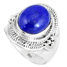 925 silver 5.41cts natural blue lapis lazuli solitaire ring jewelry size 7 p8205