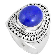 5.30cts natural blue lapis lazuli 925 silver solitaire ring size 8.5 p8208