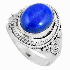 925 silver 5.52cts natural blue lapis lazuli oval solitaire ring size 7.5 p8210