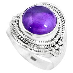 925 silver 6.18cts natural purple amethyst round solitaire ring size 7.54 p8247