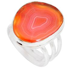 14.40cts natural orange botswana agate 925 silver solitaire ring size 8.5 p8425