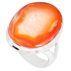 13.15cts natural orange botswana agate 925 silver solitaire ring size 8.5 p8435