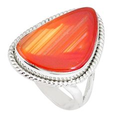 13.87cts natural orange botswana agate 925 silver solitaire ring size 7 p8438