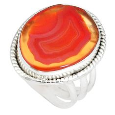 15.02cts natural orange botswana agate 925 silver solitaire ring size 6 p8439
