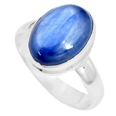 6.04cts natural blue kyanite 925 sterling silver solitaire ring size 9 p9115