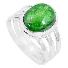 5.53cts natural green chrome diopside 925 silver solitaire ring size 8.5 p9122