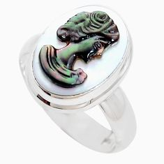 925 silver 6.27cts natural titanium cameo on shell solitaire ring size 7 p9208