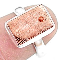 Natural meteorite gibeon 925 silver solitaire copper plating ring size 7 p9241