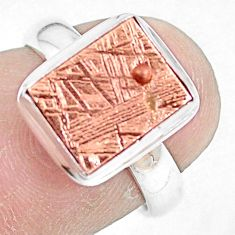 Natural meteorite gibeon 925 silver solitaire copper plating ring size 6 p9242
