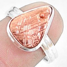 Natural meteorite gibeon 925 silver solitaire copper plating ring size 7.5 p9243