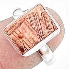 Natural meteorite gibeon 925 silver solitaire copper plating ring size 8 p9245