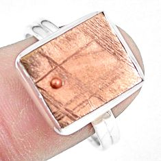 Natural meteorite gibeon 925 silver solitaire copper plating ring size 9 p9246