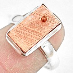 Natural meteorite gibeon 925 silver solitaire copper plating ring size 8 p9247