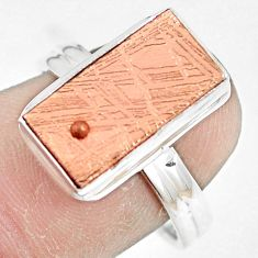 Copper plating natural meteorite gibeon 925 silver solitaire ring size 8 p9248