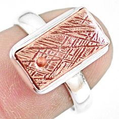 925 silver 6.03cts natural meteorite gibeon copper plating ring size 7 p9254