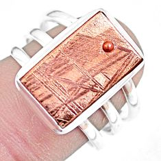 925 silver natural meteorite gibeon solitaire copper plating ring size 8 p9259