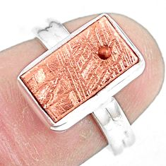 5.53cts natural meteorite gibeon 925 silver copper plating ring size 5.5 p9262