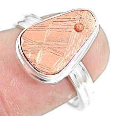 5.75cts natural meteorite gibeon 925 silver copper plating ring size 8 p9263