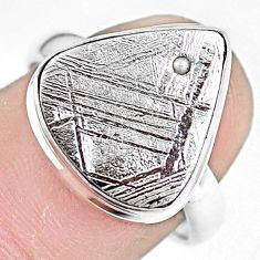 925 silver 7.22cts natural grey meteorite gibeon solitaire ring size 8 p9268