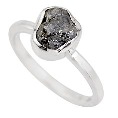 3.29cts natural certified diamond rough 925 silver ring size 7.5 p92948