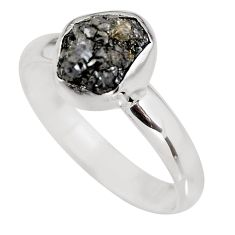 3.66cts natural certified diamond rough 925 silver solitaire ring size 9 p92949