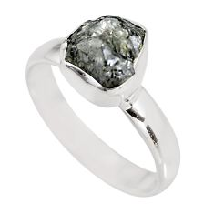 3.26cts natural certified diamond rough 925 silver solitaire ring size 8 p92952