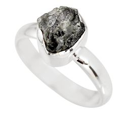 3.29cts natural certified diamond rough 925 silver solitaire ring size 8 p92954