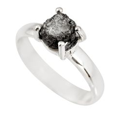 2.93cts natural certified diamond rough 925 silver solitaire ring size 8 p92955