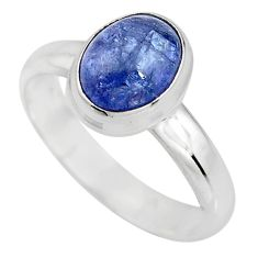 925 silver 3.26cts natural blue tanzanite solitaire ring jewelry size 7.5 p93044