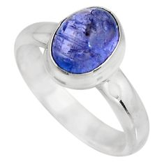 1.81cts natural blue tanzanite 925 silver solitaire ring jewelry size 6 p93053