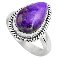 5.52cts natural purple sugilite 925 silver solitaire ring jewelry size 8 p93061
