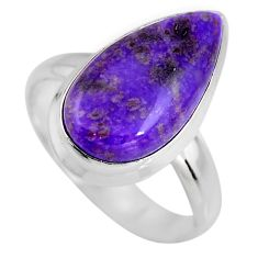 7.82cts natural purple sugilite 925 silver solitaire ring size 8.5 p93062