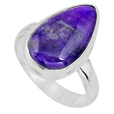 925 silver 7.04cts natural purple sugilite solitaire ring size 7.5 p93075