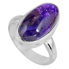 7.02cts natural purple sugilite 925 silver solitaire ring size 6.5 p93080