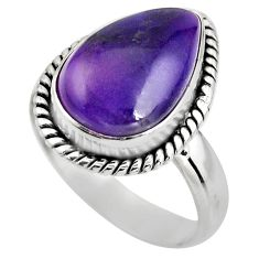 6.57cts natural purple sugilite 925 silver solitaire ring size 7.5 p93082