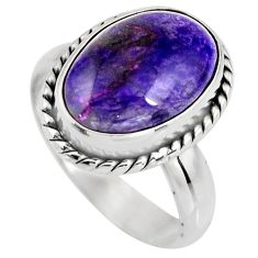 5.54cts natural purple sugilite 925 silver solitaire ring size 6.5 p93083