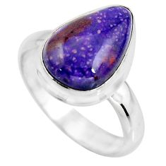 5.36cts natural purple sugilite 925 silver solitaire ring jewelry size 8 p93090