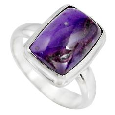 5.58cts natural purple sugilite 925 silver solitaire ring size 6.5 p93091