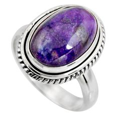 6.31cts natural purple sugilite 925 silver solitaire ring size 7.5 p93092