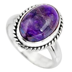 5.38cts natural purple sugilite 925 silver solitaire ring jewelry size 7 p93093