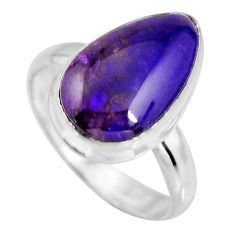 925 silver 6.72cts natural purple sugilite solitaire ring size 8.5 p93094