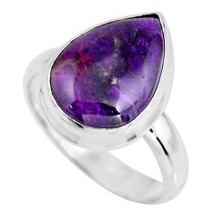 6.85cts natural purple sugilite 925 silver solitaire ring size 8.5 p93096